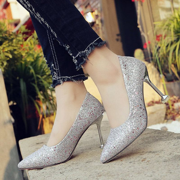 Stiletto Heel Sequin Pointed Toe Slip-On Casual Plain Thin Shoes