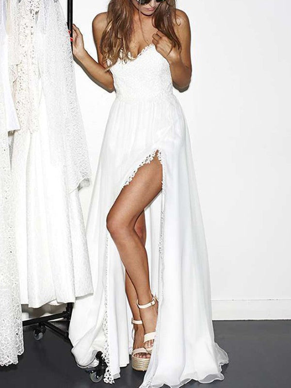 Floor-Length Sleeveless Spaghetti Straps A-Line Beach Wedding Dress
