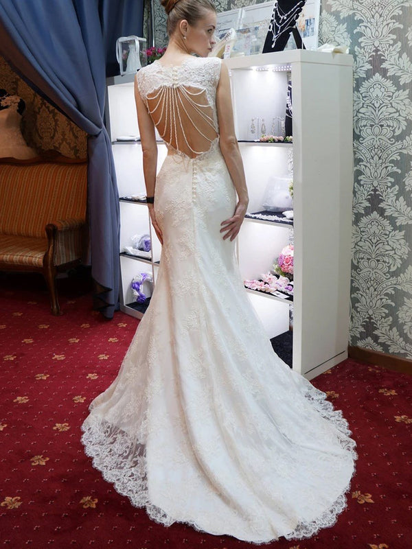 Button Sweetheart Trumpet/Mermaid Sleeveless Church Wedding Dress