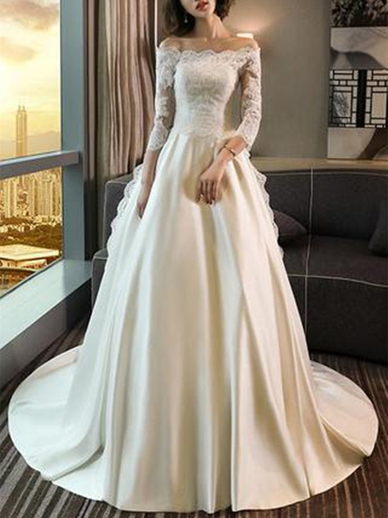 Court Floor-Length Off-The-Shoulder 3/4 Length Sleeves Hall Wedding Dress