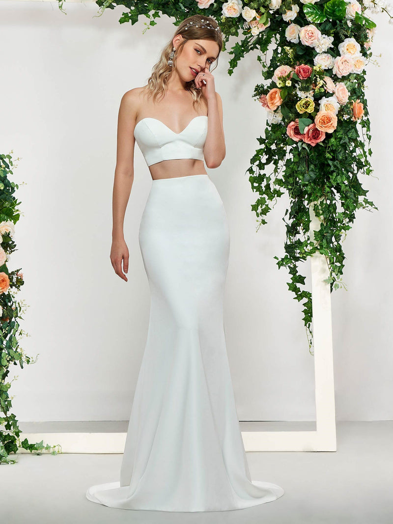 Trumpet/Mermaid Floor-Length Appliques Sweetheart Church Wedding Dress