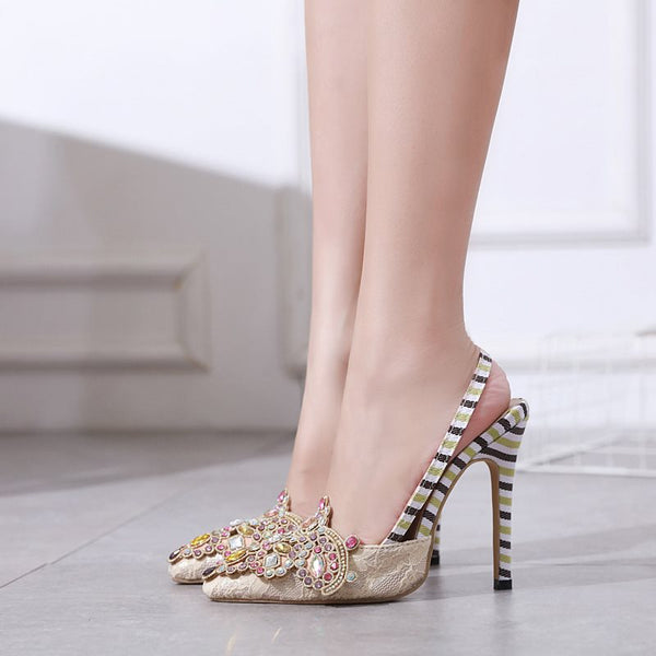 Slingback Strap Stiletto Heel Pointed Toe Slip-On Rhinestone Casual Sandals