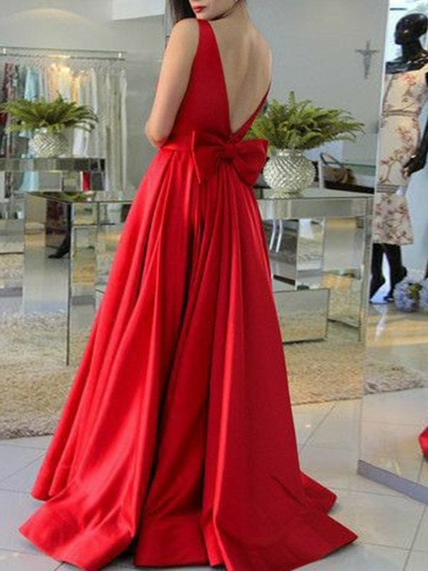 Sleeveless A-Line Bowknot Floor-Length Evening Dress
