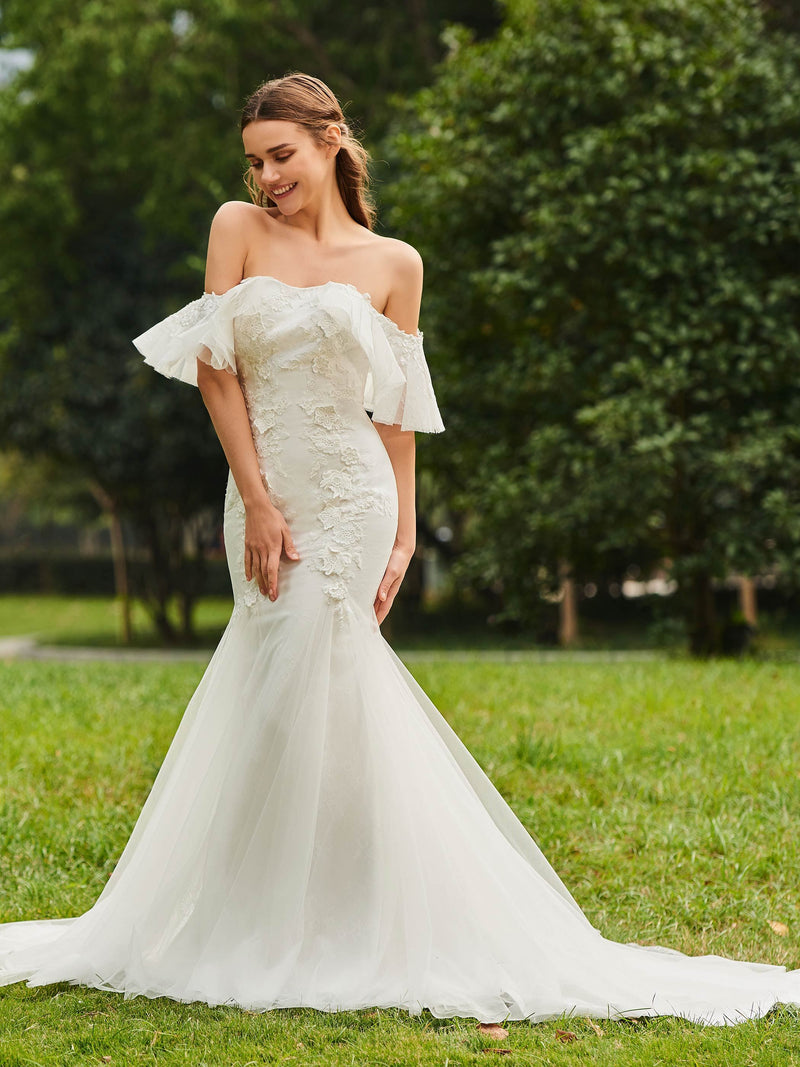 Trumpet/Mermaid Floor-Length Sweep/Brush Lace Church Wedding Dress