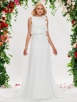 Bateau Floor-Length Sleeveless Flowers Garden/Outdoor Wedding Dress