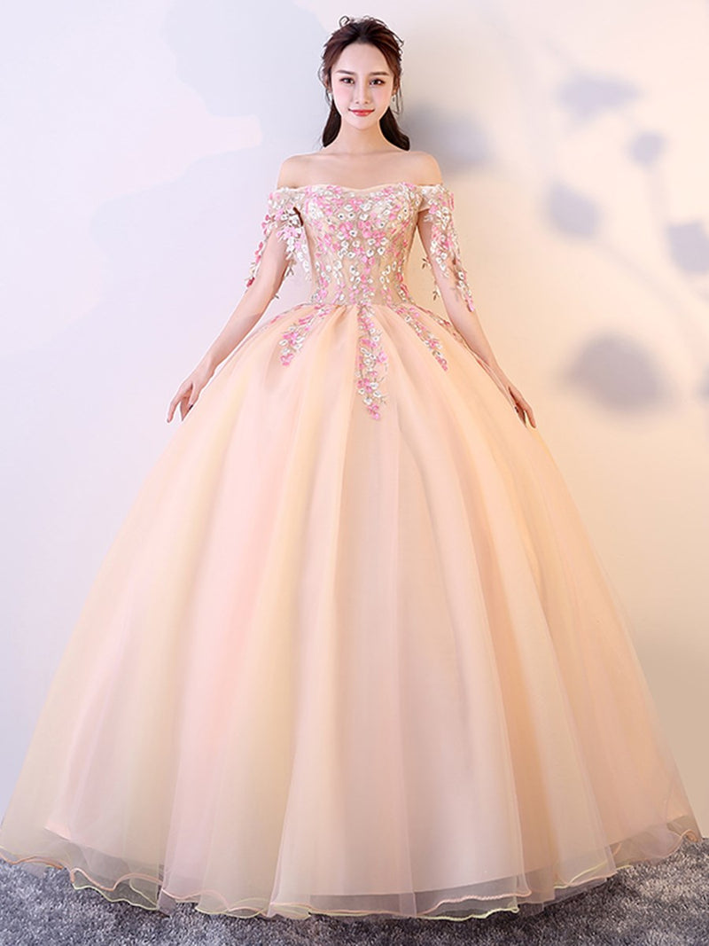 Flowers Ball Gown Floor-Length Half Sleeves Quinceanera Dress