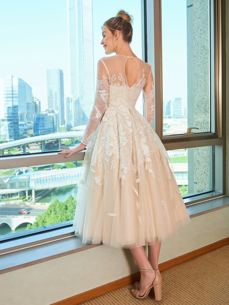 Bateau Appliques A-Line Tea-Length Church Wedding Dress