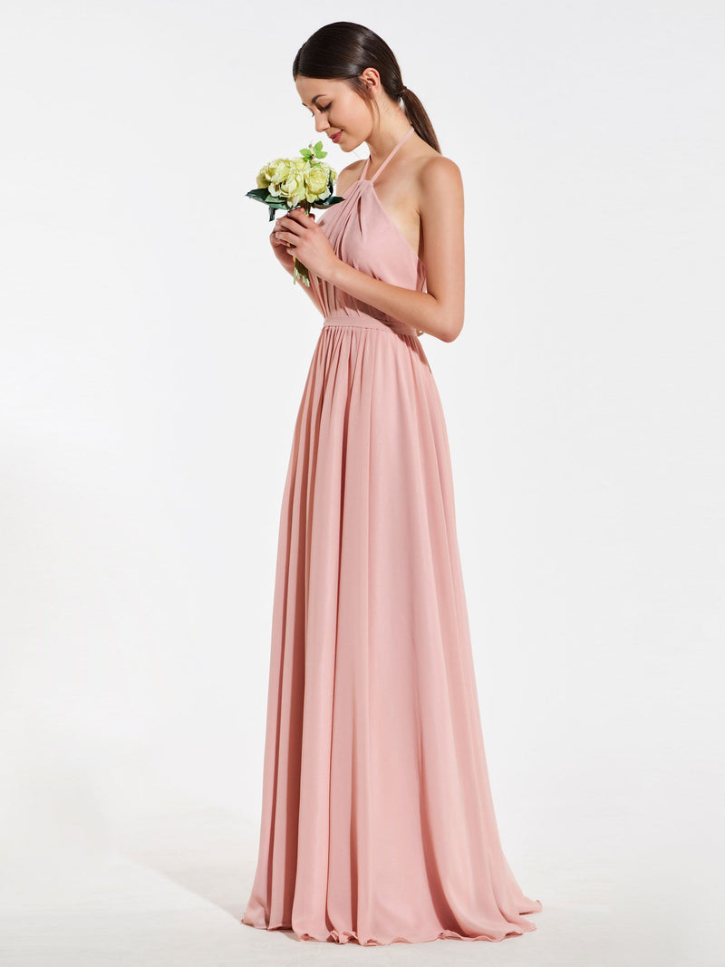 Halter Floor-Length A-Line Sleeveless Wedding Party Dress