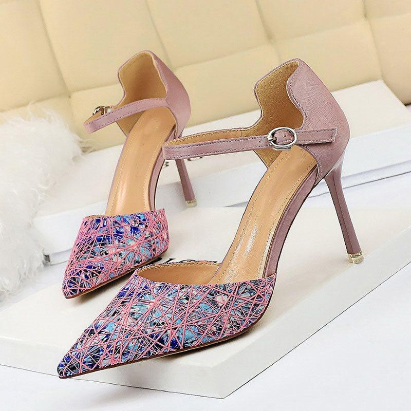 Thread Buckle Pointed Toe Stiletto Heel Color Block 8.5cm Thin Shoes