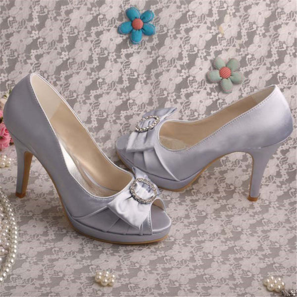 Rhinestone Peep Toe Stiletto Heel Slip-On Western Plain Thin Shoes