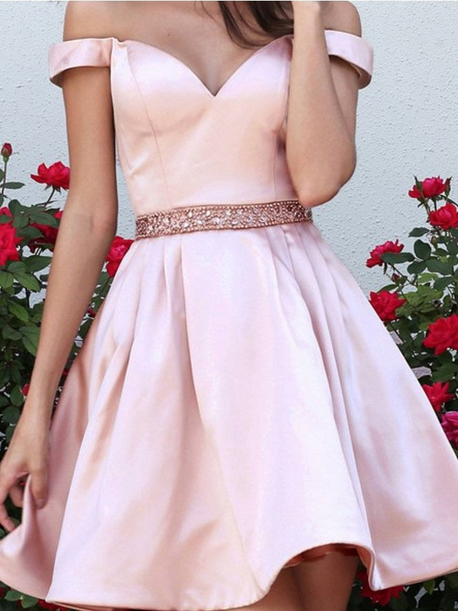 Beading Off-The-Shoulder A-Line Short/Mini Homecoming Dress