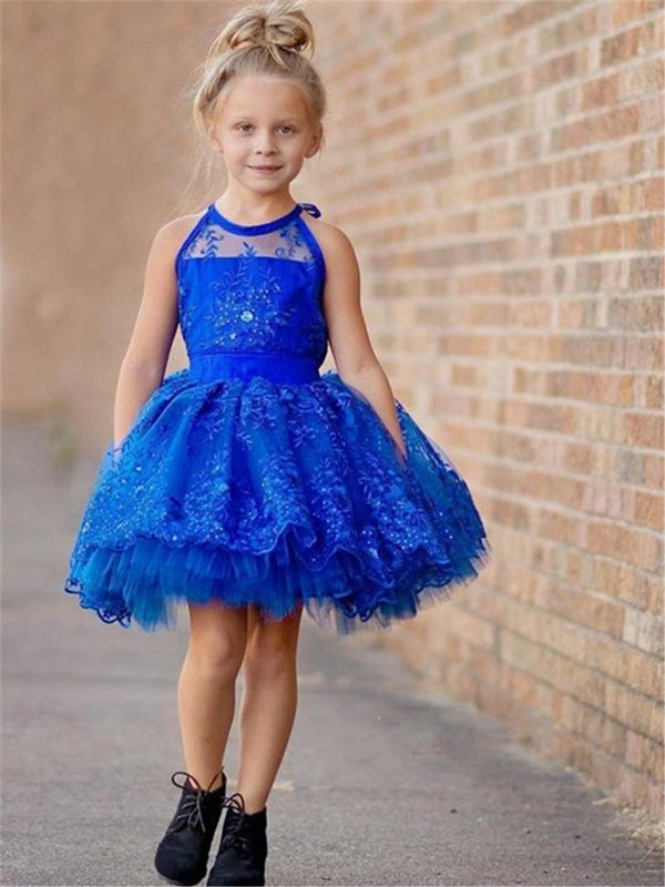 Appliques Winter Sleeveless Ball Gown Flower Girl Dress