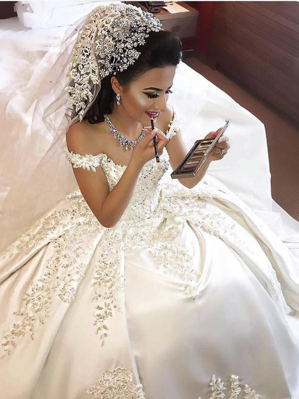 Beading Ball Gown Floor-Length Off-The-Shoulder Church Wedding Dress