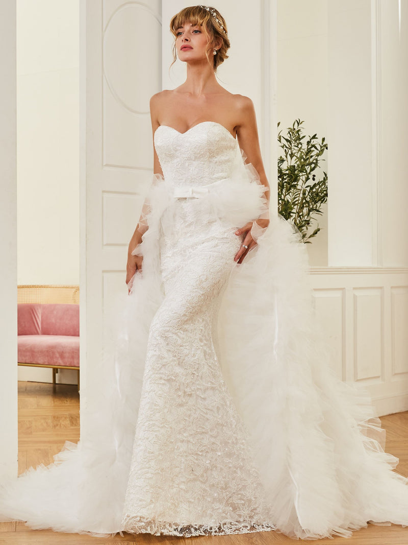 Lace Watteau Sleeveless Trumpet/Mermaid Church Wedding Dress