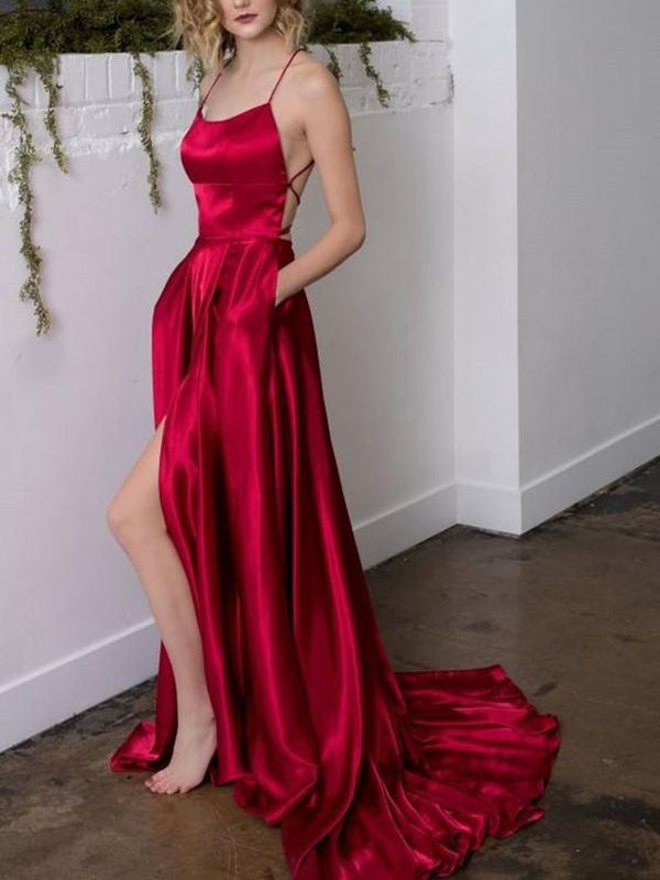 Sleeveless Floor-Length Split-Front Spaghetti Straps Wedding Party Dress