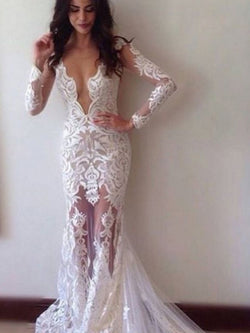 Court Long Sleeves Floor-Length V-Neck Hall Wedding Dress