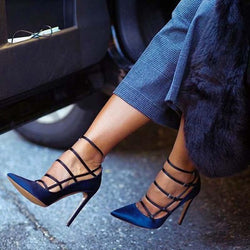 Buckle Hollow Pointed Toe Stiletto Heel Casual Low-Cut Upper Thin Shoes