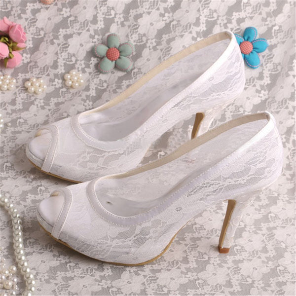 Thread Slip-On Stiletto Heel Peep Toe Western Low-Cut Upper Thin Shoes