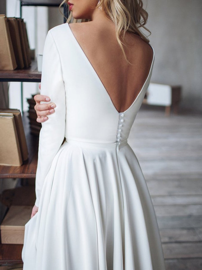 Asymmetry Long Sleeves Bateau Button Beach Wedding Dress