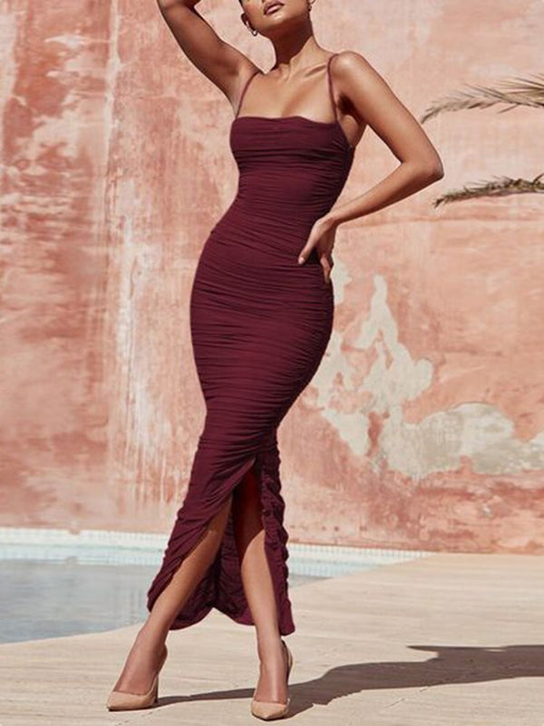 Sleeveless Spaghetti Straps Pleats Sheath/Column Evening Dress