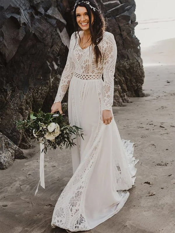 V-Neck A-Line Lace Floor-Length Beach Wedding Dress