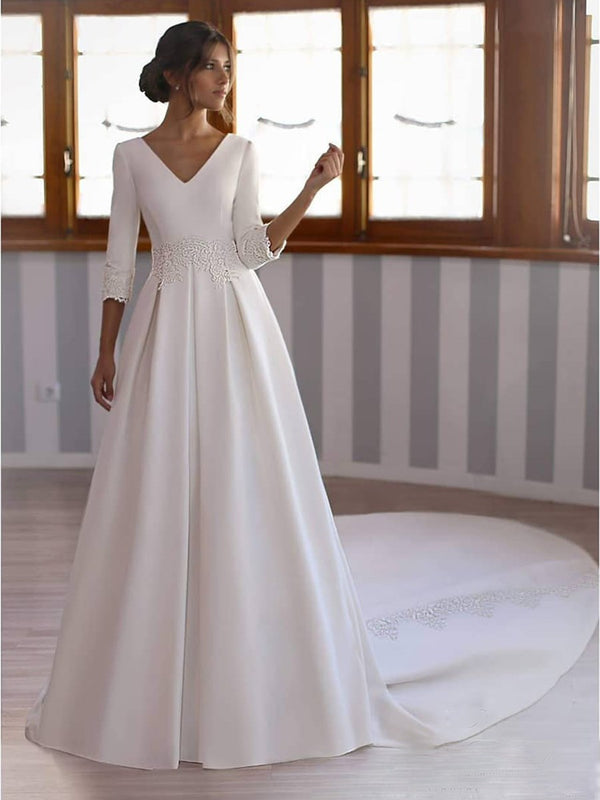 V-Neck Long Sleeves Floor-Length Ball Gown Church Wedding Dress