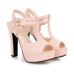 Peep Toe Chunky Heel Buckle Ankle Strap Casual Low-Cut Upper Sandals