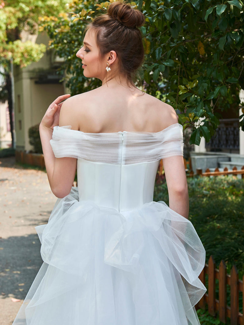 Floor-Length Ball Gown Off-The-Shoulder Short Sleeves Church Wedding Dress