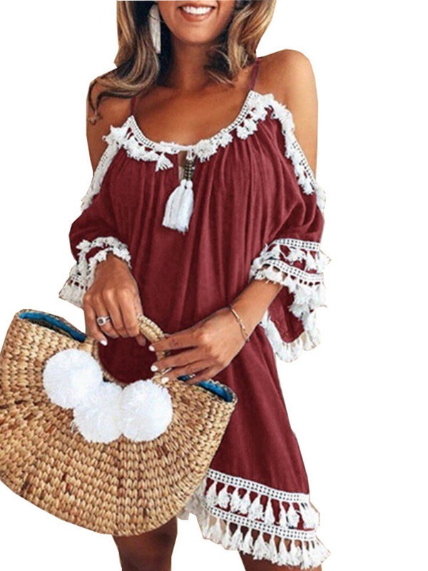 Round Neck Three-Quarter Sleeve Backless Bohemian Spaghetti Strap Dress