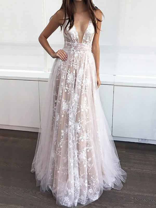 V-Neck Lace Floor-Length A-Line Graduation Dress