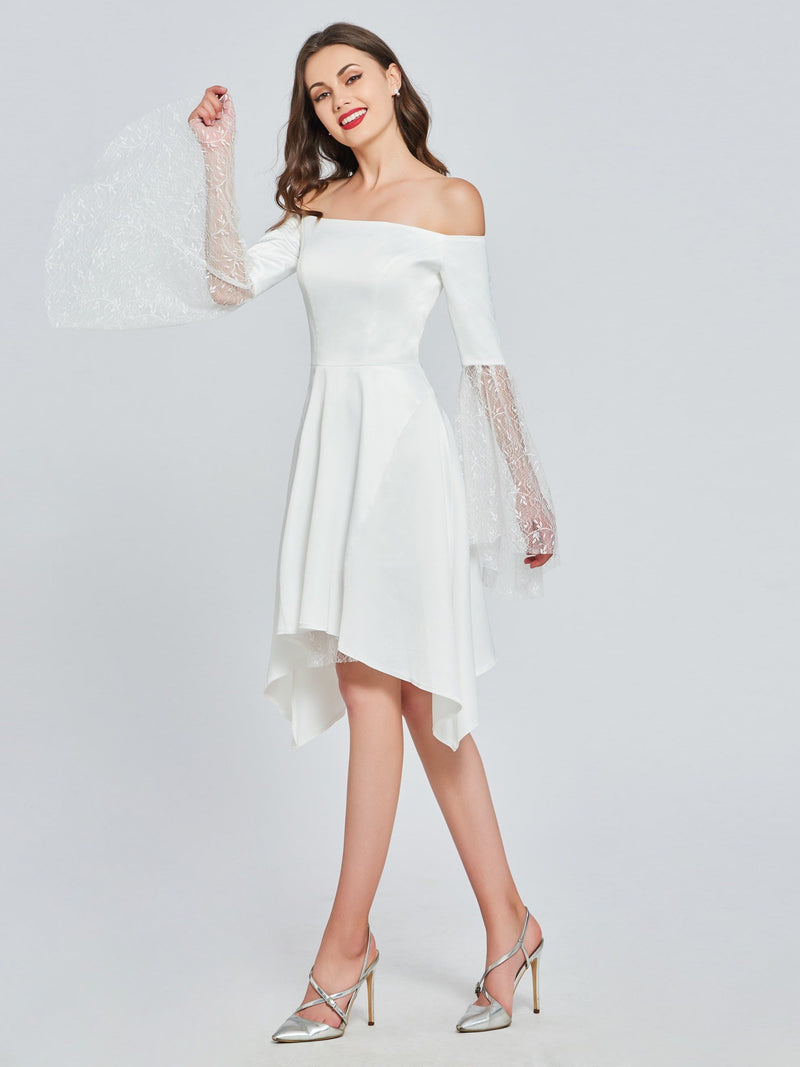 Knee-Length Off-The-Shoulder Long Sleeves A-Line Evening Dress