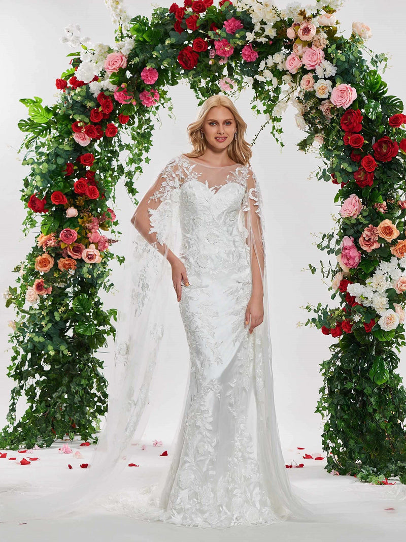 Scoop Long Sleeves Lace Trumpet/Mermaid Hall Wedding Dress