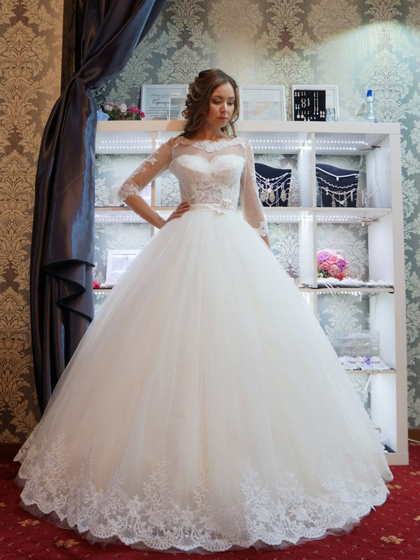Ball Gown Bateau Button 3/4 Length Sleeves Hall Wedding Dress