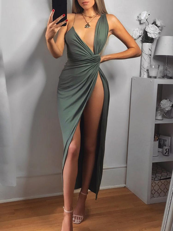 Ankle-Length V-Neck Sleeveless Split-Front Evening Dress