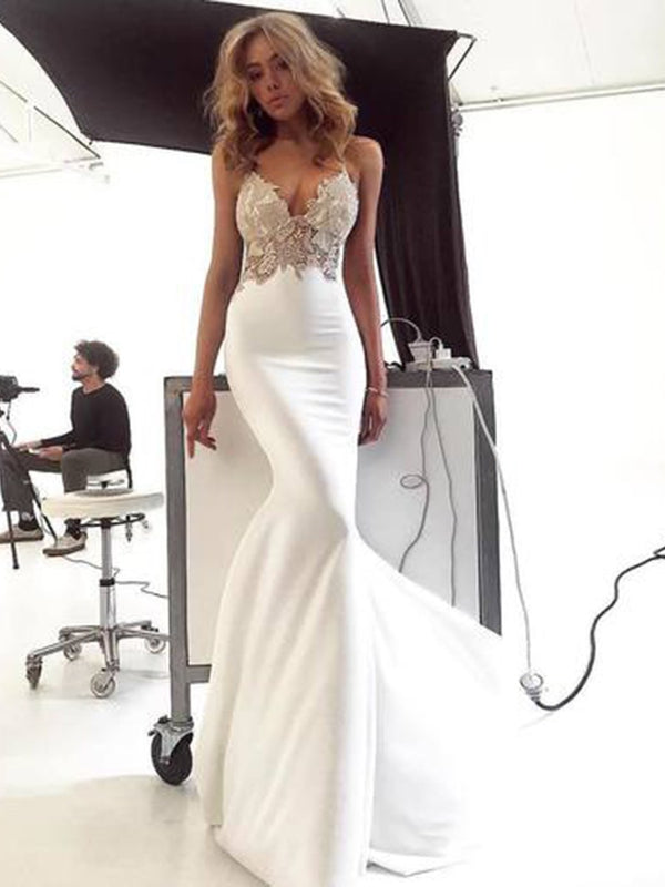 Floor-Length Sleeveless Spaghetti Straps Trumpet/Mermaid Evening Dress