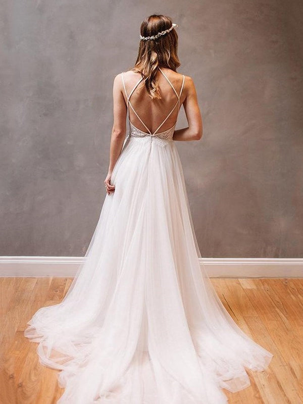 Spaghetti Straps Floor-Length A-Line Sweep/Brush Beach Wedding Dress