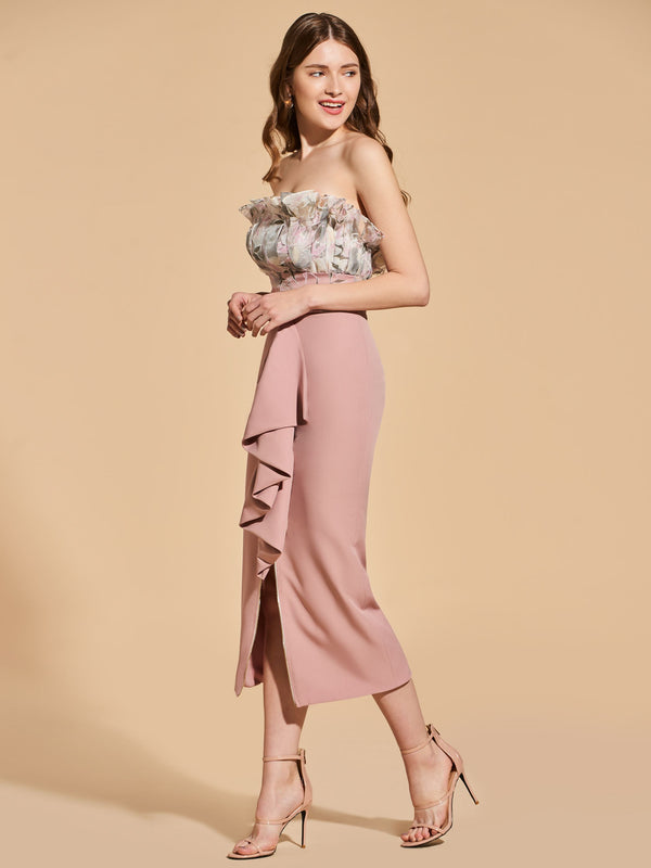 Strapless Sleeveless Sheath/Column Ruffles Cocktail Dress