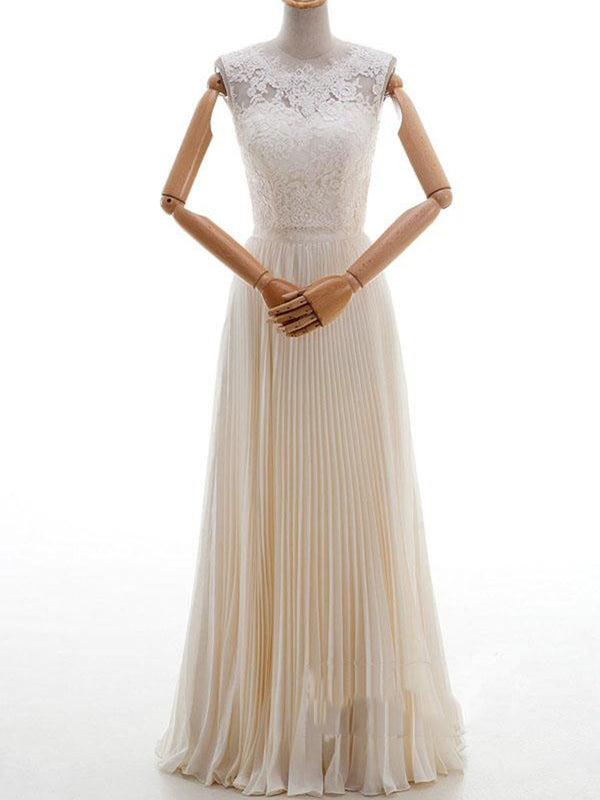 Pleats Sleeveless A-Line Floor-Length Garden/Outdoor Wedding Dress