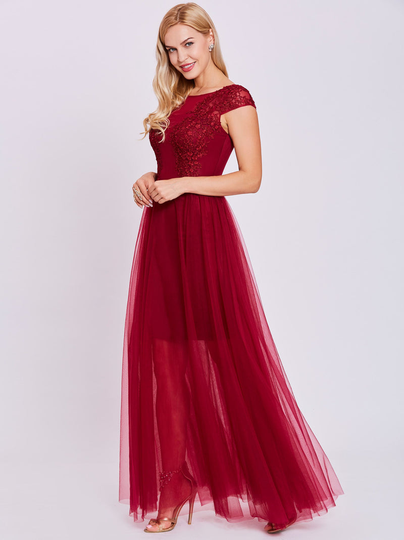 A-Line Appliques Scoop Red Evening Dress
