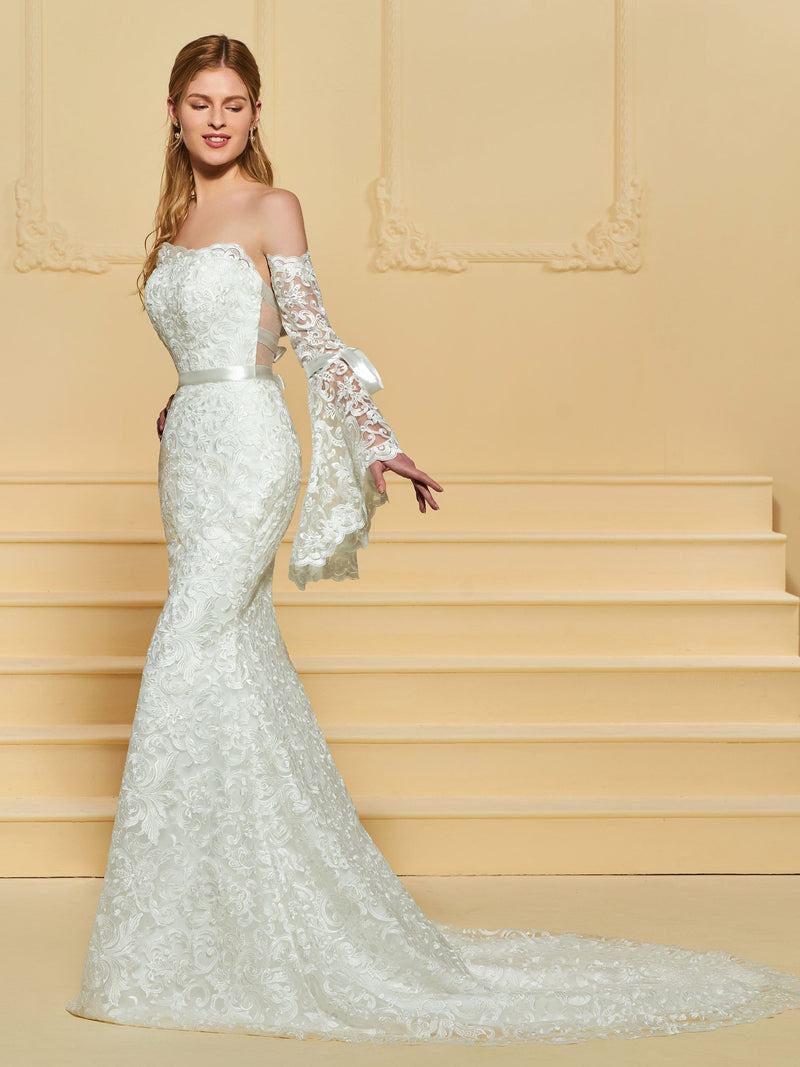 Court Floor-Length Long Sleeves Strapless Garden/Outdoor Wedding Dress