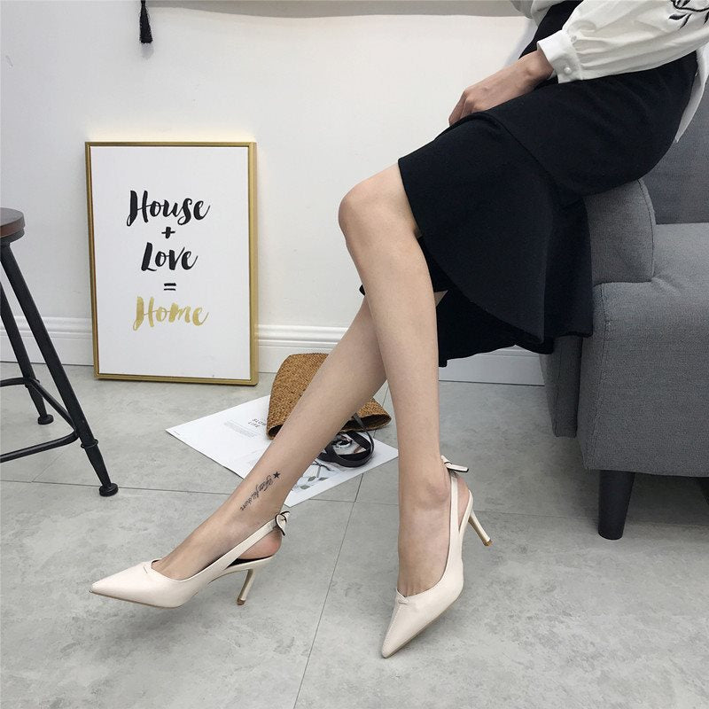 Stiletto Heel Pointed Toe Slip-On Slingback Strap Casual Low-Cut Upper Sandals