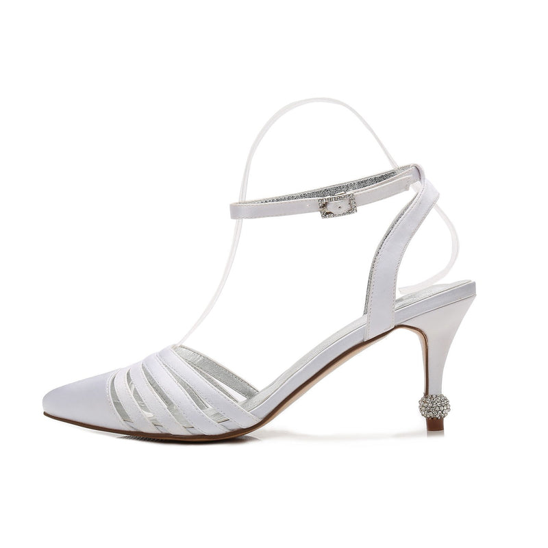 Stiletto Heel Ankle Strap Buckle Closed Toe Wedding Plain Sandals
