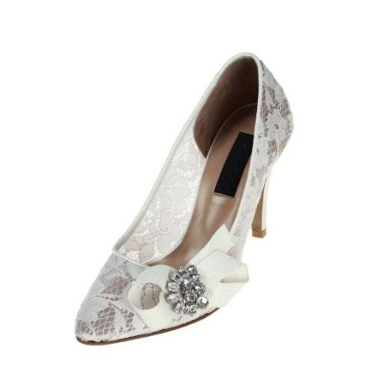 Stiletto Heel Slip-On Pointed Toe Bow Wedding 8.5cm Thin Shoes
