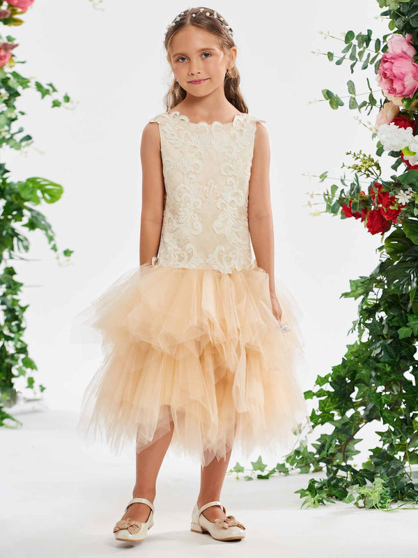 Tea-Length Appliques Scoop Ball Gown Flower Girl Dress