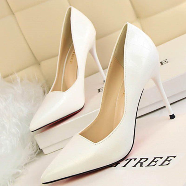 Stiletto Heel Pointed Toe Thread Slip-On 9.5cm Plaid Thin Shoes