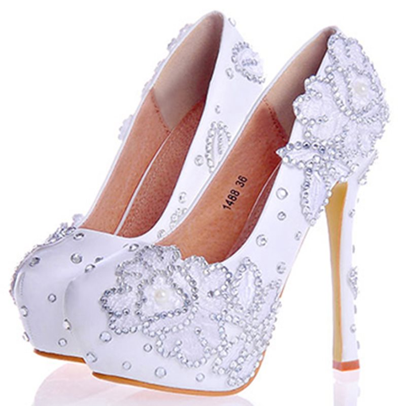 Round Toe Slip-On Stiletto Heel Rhinestone Wedding Low-Cut Upper Thin Shoes