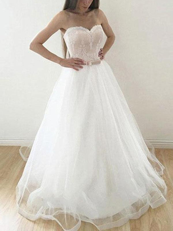 Sweetheart Bowknot Sleeveless A-Line Garden/Outdoor Wedding Dress
