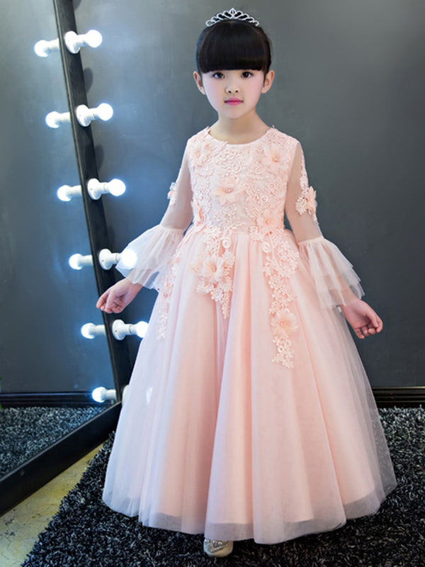 Lace Floor-Length A-Line Long Sleeves Flower Girl Dress