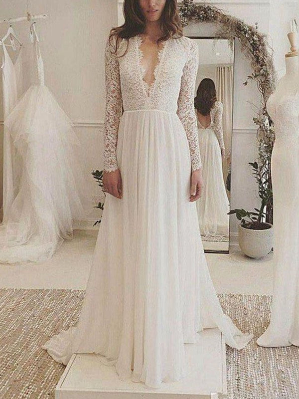 Long Sleeves V-Neck Floor-Length Lace Garden/Outdoor Wedding Dress