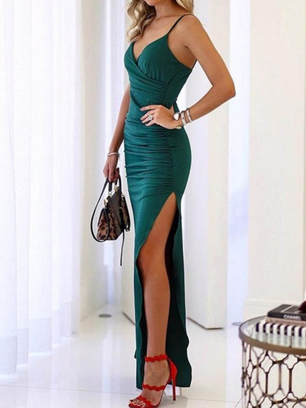 Split Sleeveless Ankle-Length High Waist Spaghetti Strap Dress